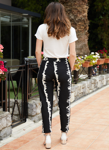 XHAN Beli Lastikli Desenli Pantolon 9Yxk5-40887-02 Siyah